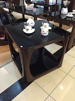 Small Coffee Lamp or Side Table with Black Glass and Solid Wood Veneer Curved Ed