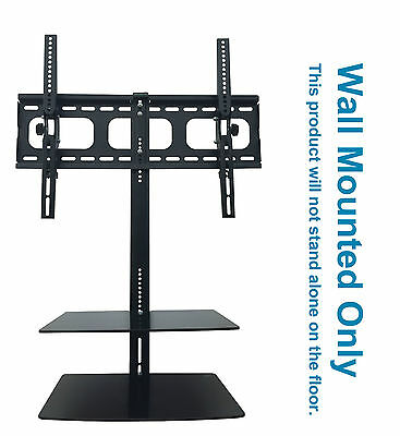 "TV Wall Mount Bracket 32"" 65"" with Floating Shelves For Sky Box Blueray DVD Xbox"