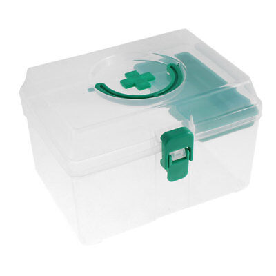 Home Plastic Medicine Pill Storage First Aid Case Box Container Green Clear
