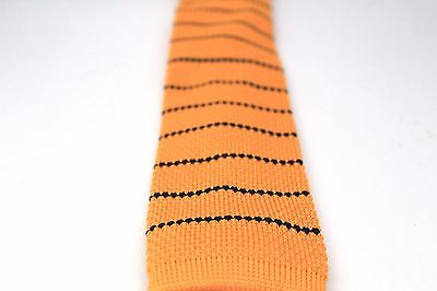 "Horizontal Stripe Knit Knitted Neck Tie Woven Slim Square 2.5/"" Navy Blue Red"