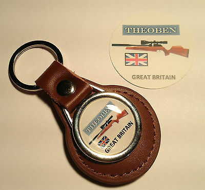 Theoben Air Rifles: Real Leather Key Rings & Gold Plated Badges: + Free Sticker