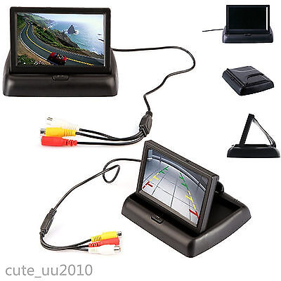 """4.3""""Foldable Digital HD LCD Color Monitor Screen For Car Reverse Rearview Camera"""
