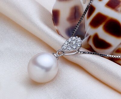 9-10mm White Drop Freshwater Pearl Pendant Solid 925 Silver + Silver Necklace