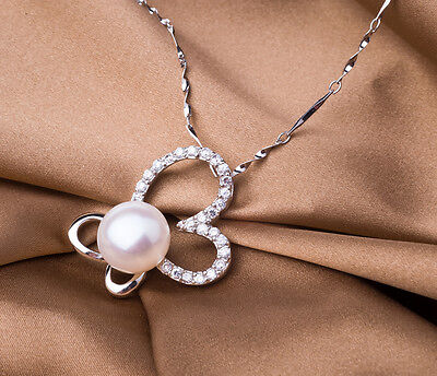 11mm White Button Freshwater Pearl Pendant in Solid Silver +Free Silver Necklace