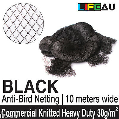 10M Width BLACK Commercial Knitted Anti Bird Netting Pest Net 5M - 100M 15mm NET