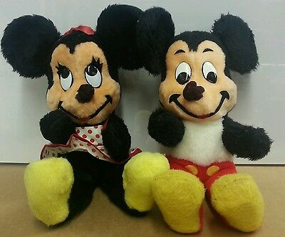 Vintage 1960's Disney Mickey & Minnie Mouse Plush Dolls EXTREMELY rare pair