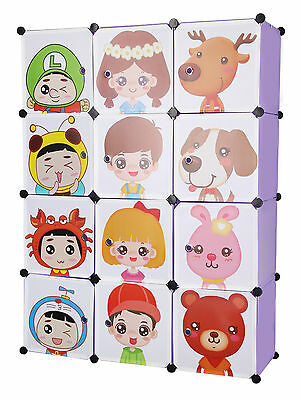 Kids Wardrobe Children' Storage Boxes and Cubes Character Design Various Colours
