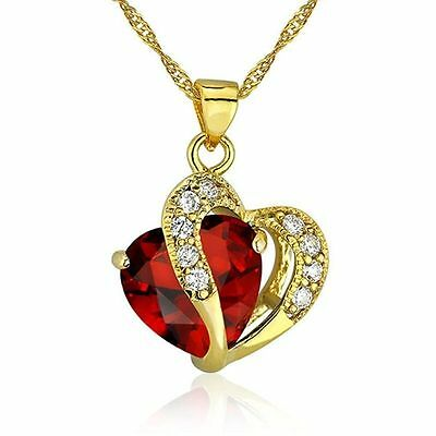 Ruby Red Heart Necklace Chain Pendant Gold plated Birthday Gift Wife Mum Woman