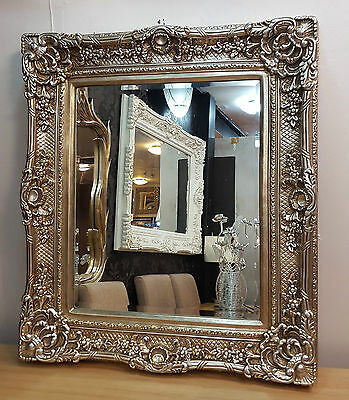 Antique Champagne Silver Ornate Vintage French Beveled Wall Mirror 85x75cm New
