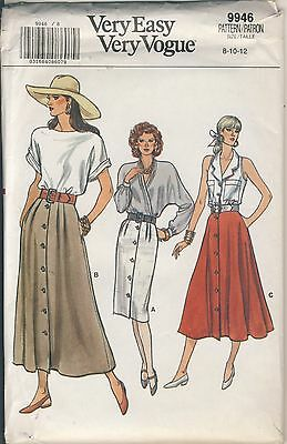 Vogue #9946 Misses' skirt sewing pattern size 8 - 10 - 12 copyright 1987