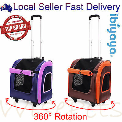 Pet Dog Cat Carrier Soft Travel Bag Trolley Stroller Crate Luggage 360° Rotation