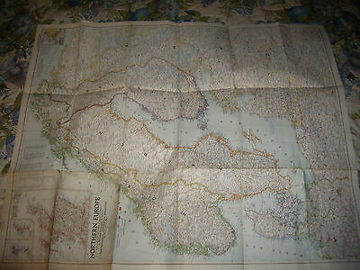 "Vintage 1954 National Geographic Map Northern Europe 35.5"" X 29"""