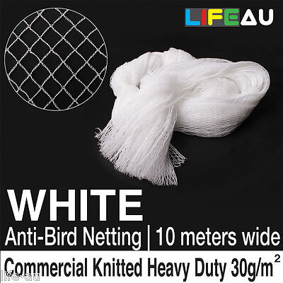 10 x 5M - 100M WHITE Knitted Anti Bird Netting Commercial Pest Net 10M wide