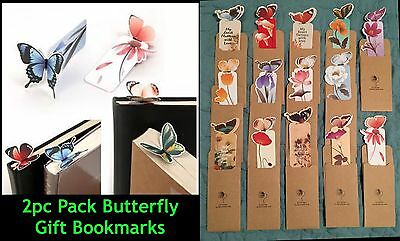 2pc ASST Creative 3D Butterfly GIFT Bookmarks Quality Card Reading Accessories