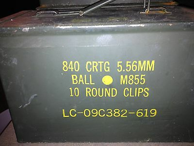 840 CRTG 5.56MM Ball M855 label 50 cal caliber size Ammo Can Box Used Empty
