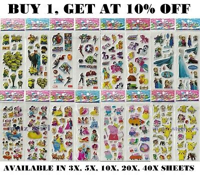 Children Kids Cartoon Characters Stickers Party Bag Fillers Scrap Book Gift Toys