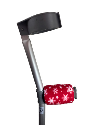 Crutch Handle Padded Covers HIGH QUALITY Cushioned Foam- Red Christmas Snowflake