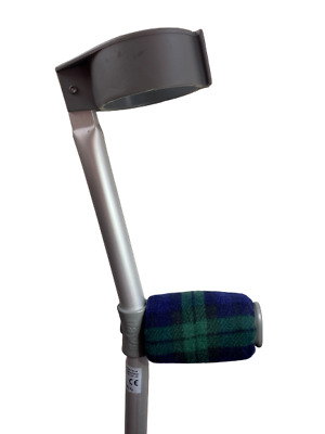 Crutch Handle Padded Covers HIGH QUALITY Cushioned Foam - Green and Navy Tartan