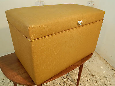 ottoman,storage box,mustard colour, rexine fabric,floral,bed end,vintage,1940's