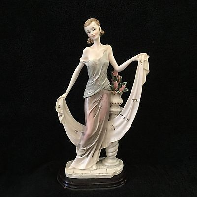 Vintage Resin Figurine Of Lady With Flowers H26 Cm