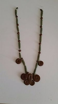 Vintage Cleopatra Faience Clay Fertility Necklace Egyptian-Style Statement Piece