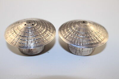 Stainless Steel Salt & Pepper Shakers, Pair of Hay Stacks With Stoppers, Exc Con
