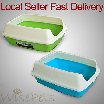 Large Cat Kitten Litter Training Tray Toilet Lip Top Prevent Spillage Plastic