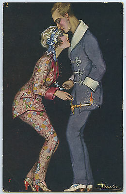 1920'S ITALIAN POSTCARD SIGNED ADOLFO BUSI ART DECO COUPLE WITH CANDLESTICKS a15