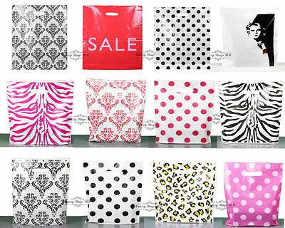 PLASTIC CARRIER BAG - Modern Printed Strong  Gift shopping Bags- ALL SIZES