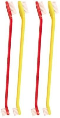 Dog Toothbrush Set Pack of 4 Double Ended Large & Small Brush Head 2558