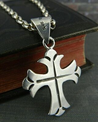 """Mexico Sterling Silver Cross on 24"""" Link Chain"""