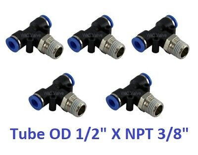 "Branch Tee Swivel Air Connector Tube OD 1/2"" X NPT 3/8"" Push In Fitting 5 Pieces"