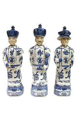 Vintage Style Blue and White Porcelain Chinese Qing 3 Generations Emperor 11""