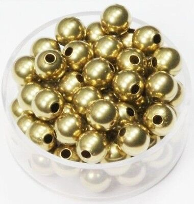 10  Natural 16 MM Solid Brass Round Seamless Hollow Beads Hole 2.0 MM Pkg USA