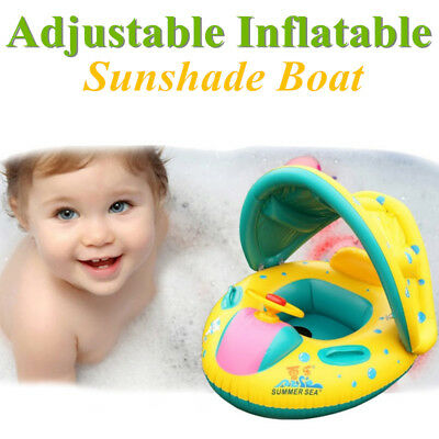 Inflatable Sunshade Baby Kids Child Float Seat Boat Swimming Pool Ring Raft Tube