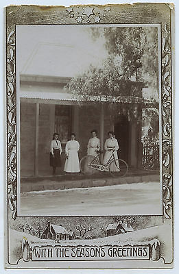 C.1910 RP PU MANNUM XMAS POSTCARD GROUP WOMEN WITH LADY'S BICYCLE SA    a28