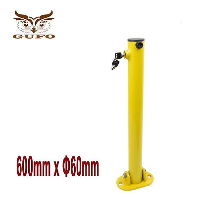 Parking Barrier Fold Down Vehicle Security Bollard Safety Lock Post Yellow Free