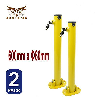 2x PARKING BARRIER FOLD DOWN VEHICLE SECURITY BOLLARD CAR SAFETY LOCK POST FREE
