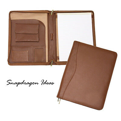 "SnapdragonIdeas Napa Cowhide Zipped Around 8"" x 11"" Padfolio Tan"