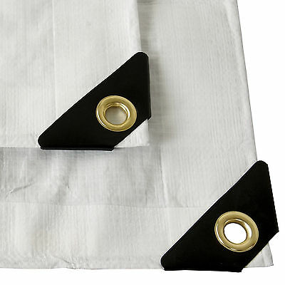 12 mil Heavy Duty Canopy Tarp WHITE 3pl Coated Tent Car Boat Cover (10% OFF 2+)