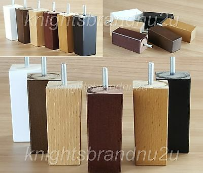 4x BLOCK WOOD REPLACEMENT FURNITURE LEGS/FEET - SOFAS, SETTEES, CHAIRS M10(10mm)