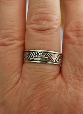 Antique vintage ring art deco sterling silver band size 8.5