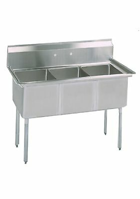(3) Three Compartment Commercial Stainless Steel Sink 53 x 25.5 G