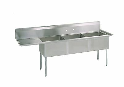 (3) Three Compartment Commercial Stainless Steel Sink 68.5 x 25.5