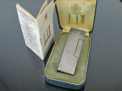 AUTHENTIC VINTAGE DUNHILL SILVERTONE LIGHTER SWISS MADE w/CASE INSTRUCTIONS