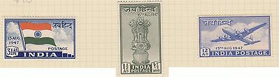 (JH-63) 1947 India 3set 1½A to 12A independence MH