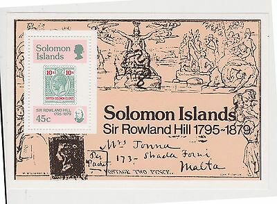 (JI-46) 1979 Solomon Islands 3stamps &45c M/S Sir Rowland hill centenary MUH