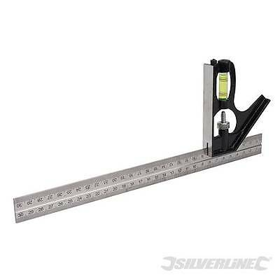 Silverline Combination Square 300MM Measuring Tool Spirit Level DIY SL31