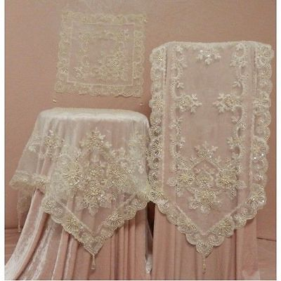 Divine Elegant Cream Ivory Lace Sequin Pearls Embroidered Table Runner