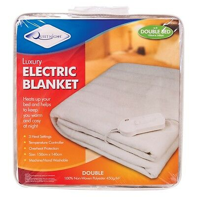 Luxury Double Electric Under Blanket Warm Bed 3 Heat Settings Temperature